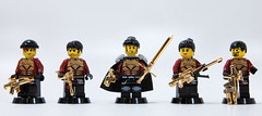 Nigel and the Blood Wardens (with gold BA) (Catsy [CC]) Tags: gold blood lego minifigs fleet nigel jovian omfg wardens 24k plated catsy brickarms macgruder flickr:user=catsy lego:scale=minifig