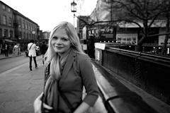 At the Market (Brendan W. Brown) Tags: street portrait blackandwhite woman london girl monochrome market camdentown tiltshift
