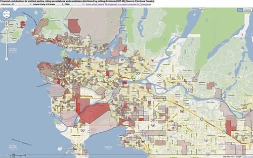 Contributions to Liberals 2009 - Vancouver area