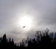 Water Bomber (Orion 2) Tags: trees sky sun nature airplane silhouettes wilderness bog waterbomber peatbog supershot landscaape newfoundlandcanada wetalands