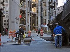 BostonBordersAsphalt (fotosqrrl) Tags: urban boston workers massachusetts streetphotography dumptruck asphalt borders washingtonstreet milkstreet