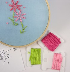 pinks and greens (Kimberly Ouimet) Tags: pink embroidery daisy bigb lazydaisystitch bigbgsd daisyembroiderypattern