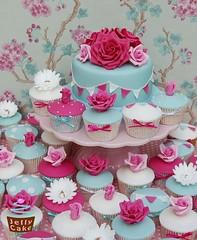 Cath Kidston Wedding Cupcakes (www.jellycake.co.uk) Tags: wedding roses cakes cupcakes farm polka sugar lea raspberry buds dots cath wiltshire winkworth stands bunting kidston duckeggblue jellycake wwwjellycakecouk