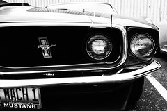 1969 Ford Mustang Mach 1 at Ranken Car Show - St. Louis, MO_P4172589 (Wampa-One) Tags: blackandwhite bw detail cars ford 1969 car emblem logo details automotive headlights bumper chrome badge mustang fordmustang carshow musclecar mach1 stlouismo saintlouismissouri 2011 rankentechnicalcollege rankencarshow 1969fordmustangmach1 grainyfilmeffect