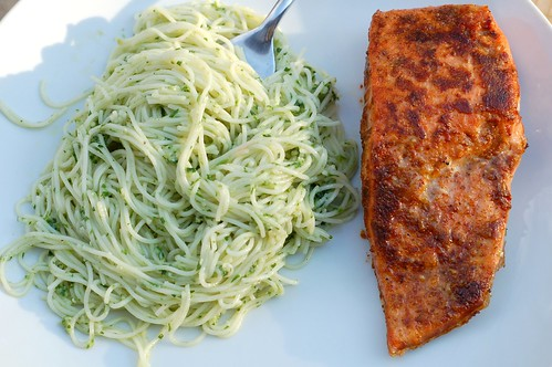 Wild ramp pesto and pan-fried salmon by Eve Fox, Garden of Eating blog, copyright 2011