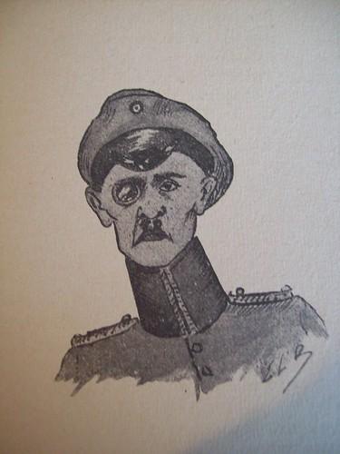 """Caricatura de um oficial alemão, representa um oficial superior de um campo de prisioneiros na Alemanha. Retirado do livro """"En Représailles"""" de Eugéne-Louis Blanchet (1918)"""