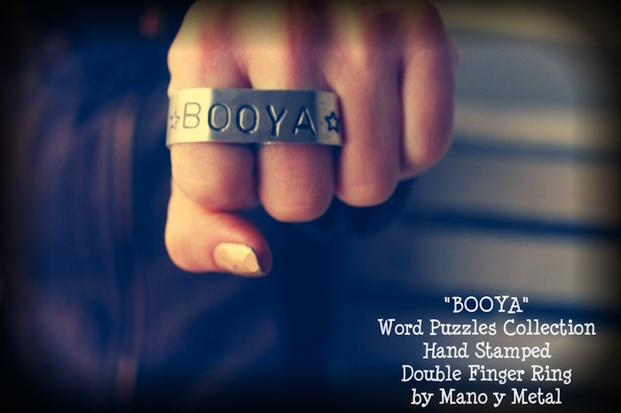 BOOYA Hand Stamped Double Finger Ring by Manoy Metal
