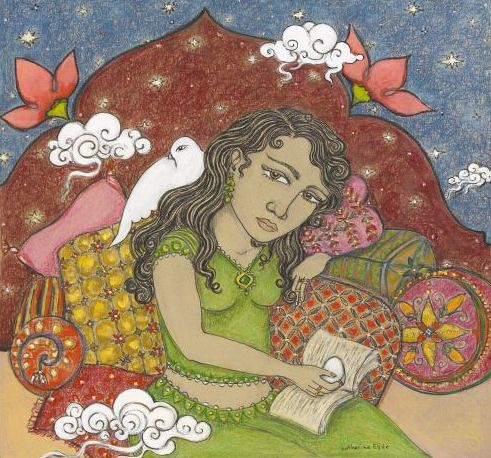 an illustration of a woman wearing green. She is seated on a lot of pillows and surrounded by white birds.