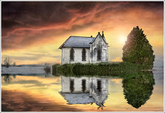 Double chapel (Jean-Michel Priaux) Tags: sunset sky sun france art water photoshop painting chapel reflet ciel reflect alsace chapelle hdr mattepainting ried abbay ebersmunster priaux ebersheim bestcapturesaoi mygearandme ringexcellence