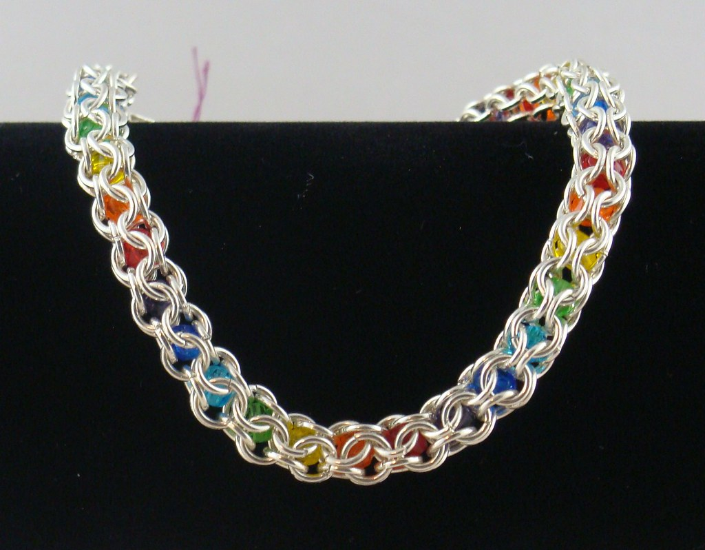 Silver and Rainbow Inverted Round Chainmaille Bracelet