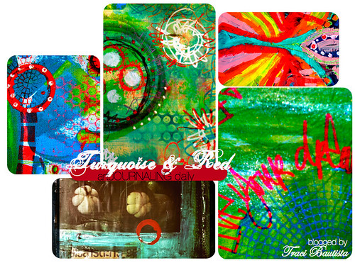artJOURNALING daily: turquoise + red