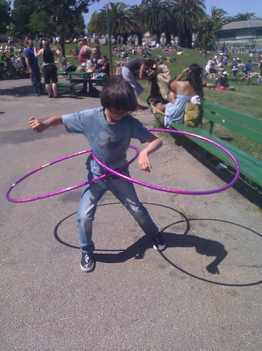 milo with two hula hoops