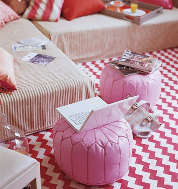 Wedding Decor - Morrocan Pink pouf