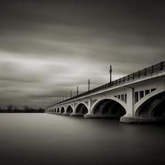 MacArthur Bridge (Jeff Gaydash) Tags: longexposure bridge blackandwhite square detroit belleisle macarthur