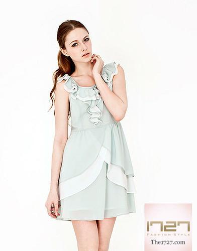 womensclothing chiffondress mintgreendress onepiecedress rufflednecklinetiereddress