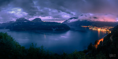 ~ Lake Lucerne ~ Brunnen ~ (dmkdmkdmk) Tags: lake mountains alps nature landscape lights switzerland town twilight nikon swiss brunnen lucerne hdr vierwaldsttterseebrunnendmmerung