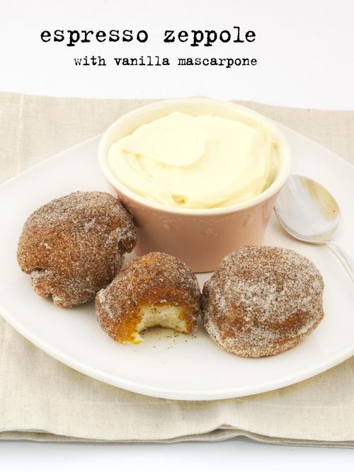 espresso zeppole with vanilla mascarpone
