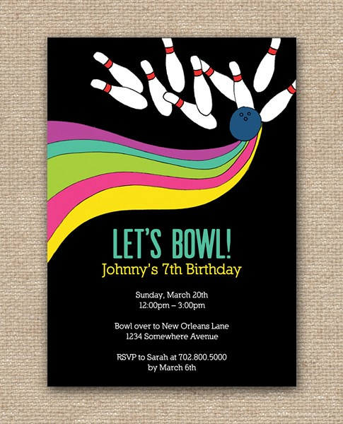 Bowling Party Invitation Design - DIY Printables, Bowling invitations, bowling party invitations, bowling alley, bowling pins, bowling shoes, birthday bowling party invitations, Announcements, Birthday Celebration, Birthday Cards