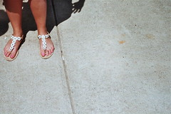(Lola K.) Tags: shadow sun feet concrete spring sandals simple dukeuniversity pinktoenails