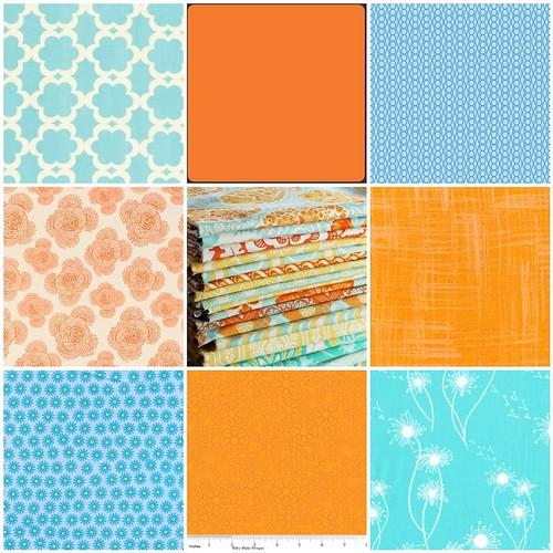 Tangerine and Aqua Inspiration Fabrics 2