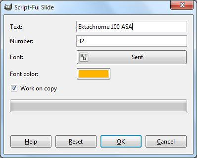 The pop-up dialog box for the Slide filter.