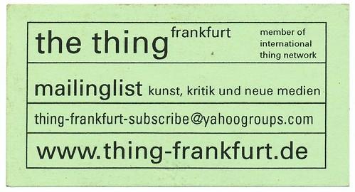 Flyer für Thing frankfurt Mailingliste. Im Jahr 2000
