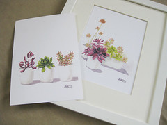 Succulents (TropicalGarden) Tags: white plant green art nature modern watercolor painting botanical drawing decorative decoration wallart botanic homedecor succulents stylish fatplant