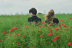rendez-vous dans le champ de papaver (laura zalenga) Tags: girls red two brown black flower me nature field hair meetup wind blond poppyseed greem rona ©laurazalenga
