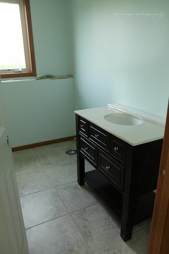 vanity and tile floor