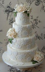 Katie (Sweet Tiers Cakes (Hester)) Tags: roses beautiful leaves lily lace weddingcake ivory icing romantic hydrangea callalily lilyofthevalley hestergardner sweettierscakes