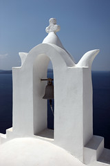 Oia, Santorini, Greece (Dietmar Temps) Tags: ocean blue white church water colors island cross chapel santorini greece greekislands griechenland santorin oia cyclades greekorthodoxchurch blueroof kykladen