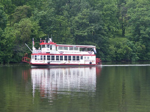Replica paddlewheel tour boat