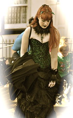 _DSC1670 (petelovespurple) Tags: whitbygothweekend whitby women girls goths gothic goth gothicweekendcostumesdressupvictorianedwardianfashionmakeupmakeupelizabethanvampirevampiresjetwhitbyjetdraculasteampunkalternativeretrofetishperiodvelvetblacksilkleatherbowlerhatsfangsbootswaistcoa sepia boots pantyhose