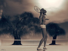 (Bleem Belargio) Tags: tennis tenniscourt woman female sports trees sl secondlife sky sun sepia monochrome dreamy bokeh