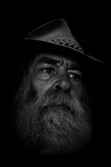 The night watch (Allan Saw) Tags: man male portrait me self blackandwhite bw hat beard dark fine art outdoors outside night old ageing alone guard monotone moody akubra duty