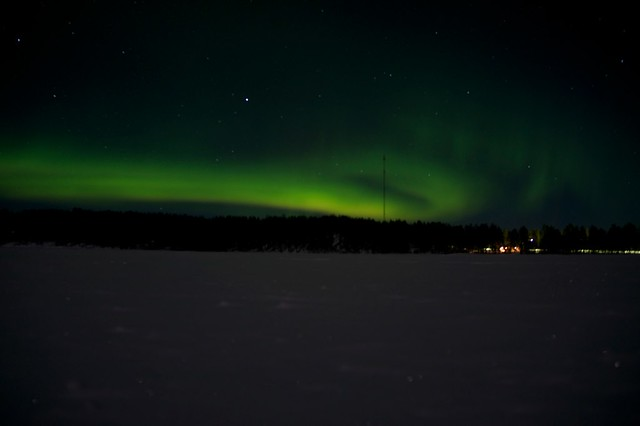 Northern Lights and a telephone mast