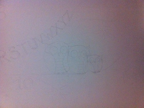 The mural so far - outline drawing of a family of owls