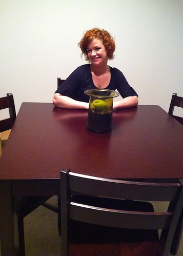 Amy with her new dining table