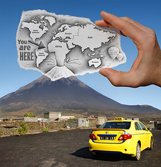 1 - Pencil Vs Camera for Art Official Concept (Ben Heine) Tags: world voyage africa trip travel cloud mountain art nature car rock stone plaque montagne crust photography lava design sketch village hand artgallery drawing earth pierre mixedmedia taxi smoke main balloon creative bluesky voiture relief ridge photoediting terre reality imagination series vulcan behind geography concept geology monde nuage worldmap discovery continent mythology youarehere hotspot magma vulcano caboverde archipelago carte fissure afrique volcan croquis tectonic capeverde oceanic montgolfire postprocessing rift silica capvert theartistery benheine pencilvscamera janejasper artofficialconcept