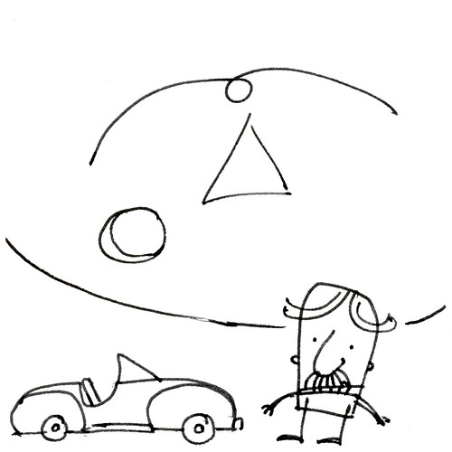 Doodle with man, car and motif