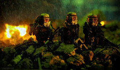 Stormtrooper Apocalypse ashes (Shobrick) Tags: city red man green fire star blood ruins gun hand lego apocalypse sniper stormtrooper wars custom shobrick