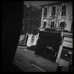 Hipstamatic Hackney (eeeve) Tags: road uk greatbritain houses windows england urban distortion building bus london sign found unitedkingdom terrace letters georgian hackney lettering 55 kerb launderette eastend eastlondon hackneyroad hipstamatic