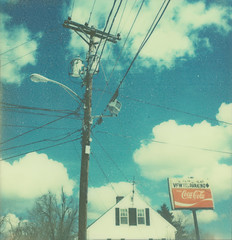 vfw. (ten minutes) Tags: new blue red sky test white house color film clouds polaroid sx70 amazing telephone beta pole cocacola autaut patricktobin impossibleproject px680