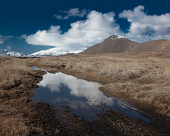 Ansel (Kiddi Kristjans) Tags: road blue winter sky white mountain mountains reflection water clouds zeiss 35mm landscape puddle iceland puffy range straws sland ze flooded snfellsnes distagon snaefellsnes speglun 352 pollur distagont235 canoneos5dmarkii