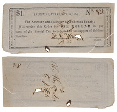 Anderson County $1.00 (one dollar) war tax scrip (SMU Central University Libraries) Tags: texas palestine currency warscrip