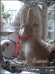~ Happy Easter 2011 ~ (Boxwoodcottage) Tags: bunny easter heart egg decoration velvet april bleeding ostern embellished 2011 frhliche ostereier boxwoodcottage