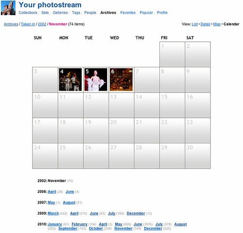 Flickrアーカイブカレンダー