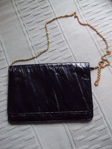 Dark Blue Eel Purse with Chain