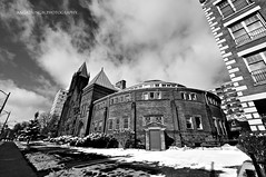 Metropolitan United Church (angadskhalsa) Tags: street white snow ontario canada black building london church grass clouds united pillar scene pole metropolitan greyscale