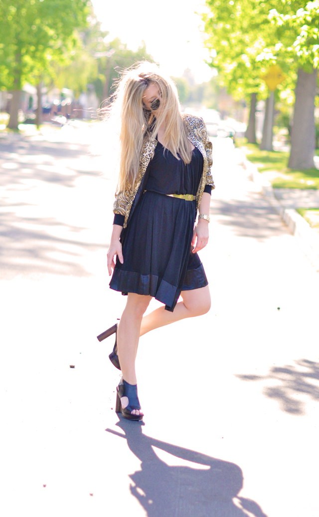 black dress and gold belt